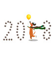 dachshund skating on paws through number 2018 vector image