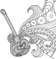 Doodles design of Guitar for coloring book for adu vector image vector image