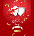 empty open heart shaped gift box with red ribbon vector image vector image