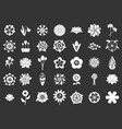 flower icon set grey vector image