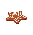 gingerbread star baked cookie icon isolated vector image vector image