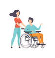 girl pushing wheelchair with disabled man girl vector image vector image