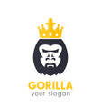 gorilla king logo on white vector image vector image