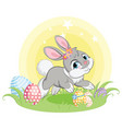 gray easter bunny character with easter eggs vector image vector image