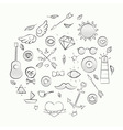 Hand drawn set of hipster elements over beige vector image vector image