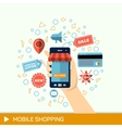 Hand with phone Online shopping phone to buy vector image