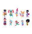 kids superheroes cartoon superhero children boys vector image