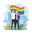 men couple with rainbow flag to lgbt celebration vector image vector image
