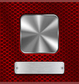 metal steel plates on red perforated background vector image vector image