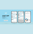 mobile chat app uiux kit concept mockup vector image