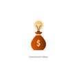 Money bag with idea light bulb investment concept vector image vector image