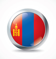 Mongolia flag button vector image vector image