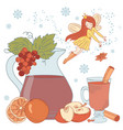 mulled wine fairy christmas vector image vector image