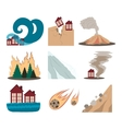 Natural disaster icon set vector image vector image