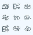 optimization icons line style set with mobile vector image