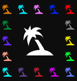 Palm Tree Travel trip icon sign Lots of colorful vector image