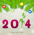 Pink 2014 with flower New Year vector image