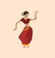 pretty indian woman dancing wearing sari vector image vector image