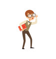 quirky boy character holding book in hand nerd vector image vector image