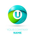 realistic letter u logo in colorful circle vector image vector image