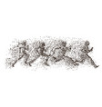 running people particle divergent silhouette vector image vector image