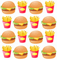 seamless background with hamburger and fries vector image