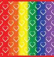 seamless pattern of white heart on rainbow vector image