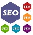 Seo rhombus icons vector image vector image