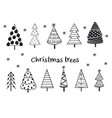 set isolated black silhouettes christmas trees vector image vector image