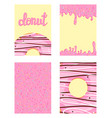 set of bright food cards set of donuts with pink vector image vector image