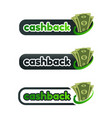 set of cashback logo with money vector image vector image