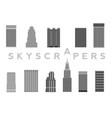 set skyscrapers simple cartoon picture vector image
