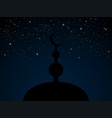 silhouette mosque on blue starry night sky vector image