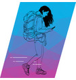 the outline of a girl running and looking to your vector image vector image