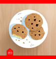 top view of cookies on plate vector image