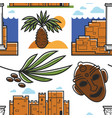 tunisia symbols palm tree and ancient ruins mask vector image vector image