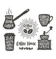 vintage coffee objects with handwritten phrases vector image vector image