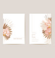 wedding invitation dried tropical palm leaves vector image vector image