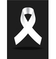 white awareness ribbon on white background vector image vector image