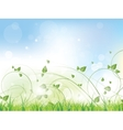 Floral spring background with swirls and flowers vector image
