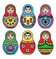 Matryoshka Russian doll colorful icons set vector image