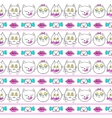 Seamless pattern with fashion patch badges cats vector image