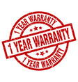 1 year warranty round red grunge stamp vector image vector image