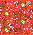 berries seamless pattern food outline vector image