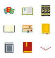 books learning icons set flat style vector image vector image