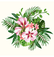 bouquet tropical flowers and leaves vector image vector image