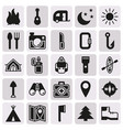 camping icons set on button background vector image vector image