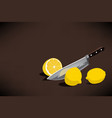 chefs knife slice a lemon for making a lemonade vector image