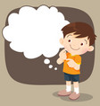 children boy stand thinking actions vector image