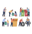 collection people clean up and sorting garbage vector image